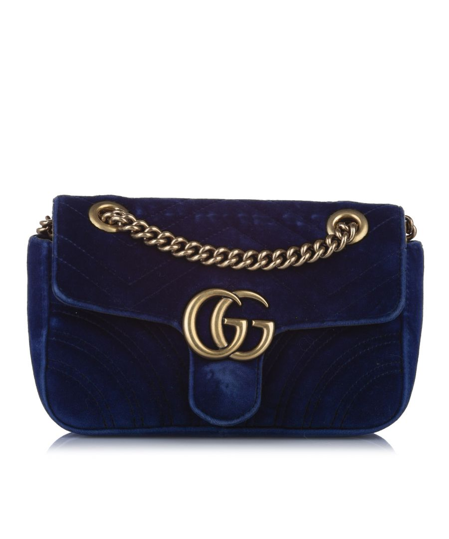 Image for Vintage Gucci Mini GG Marmont Matelasse Velvet Crossbody Bag Blue