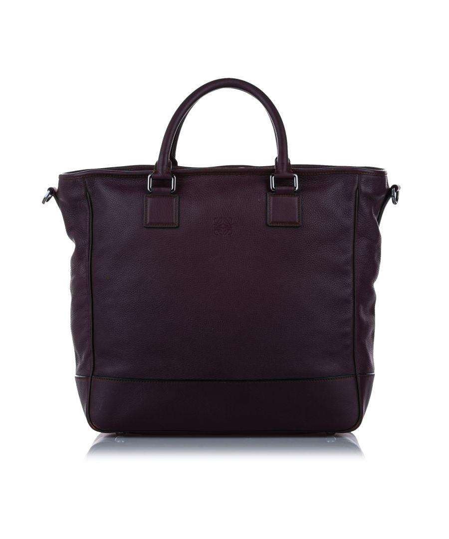 Image for Vintage Loewe Amazona Leather Satchel Purple