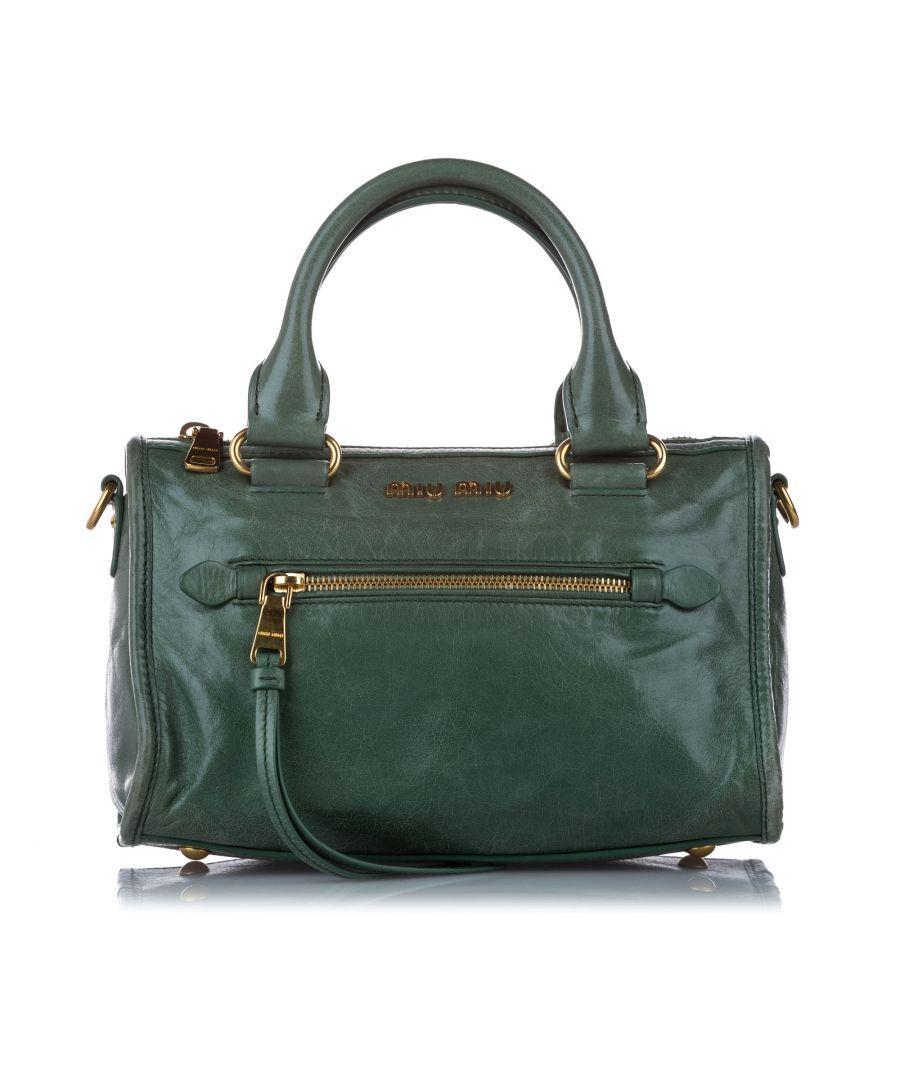 Image for Vintage Miu Miu Vitello Shine Satchel Green