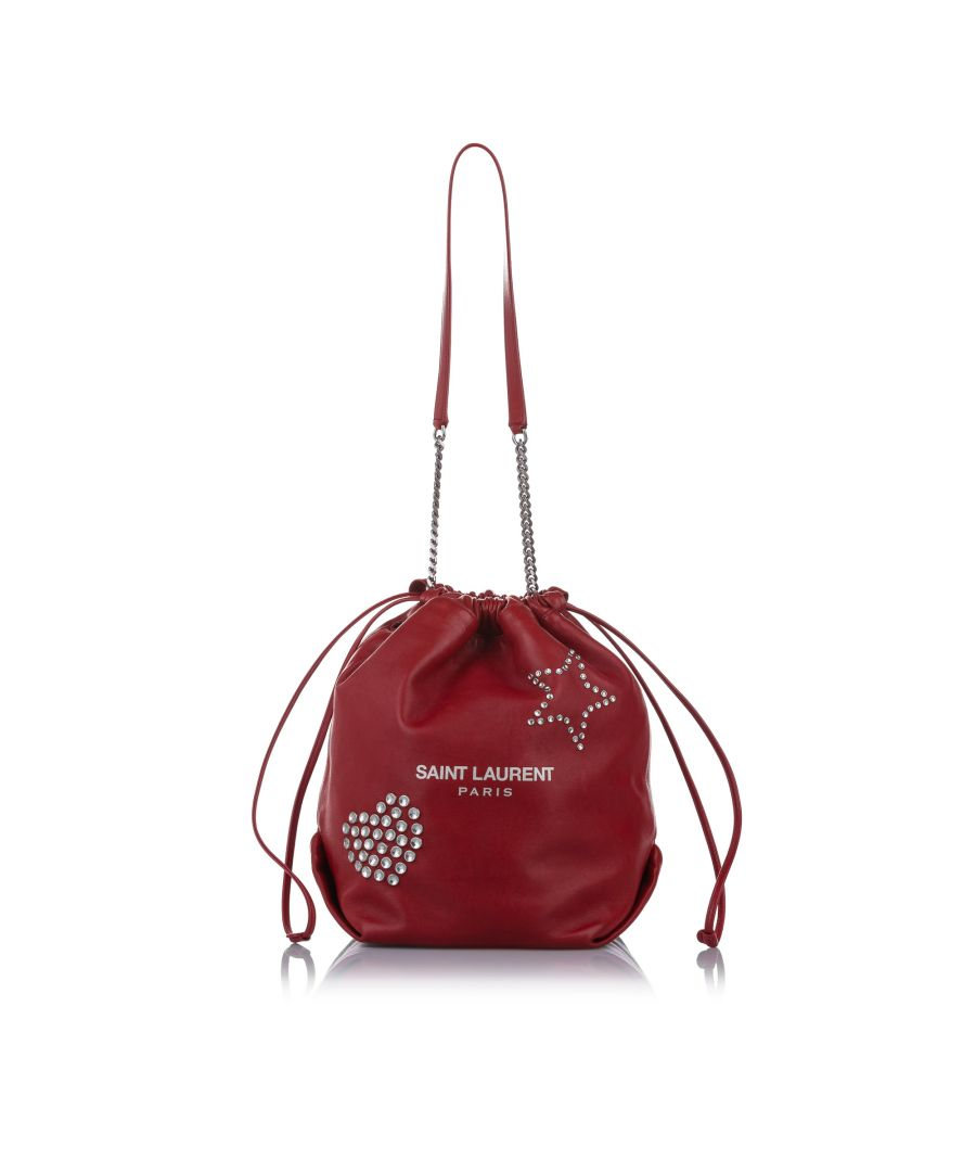 Image for Vintage YSL Teddy Studded Leather Bucket Bag Red