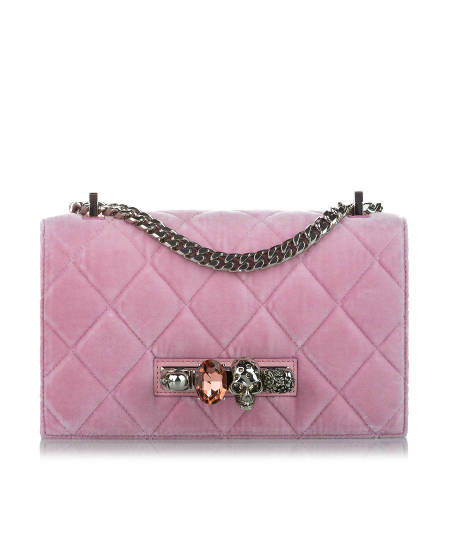 Image for Vintage Alexander McQueen Jewelled Suede Crossbody Bag Pink