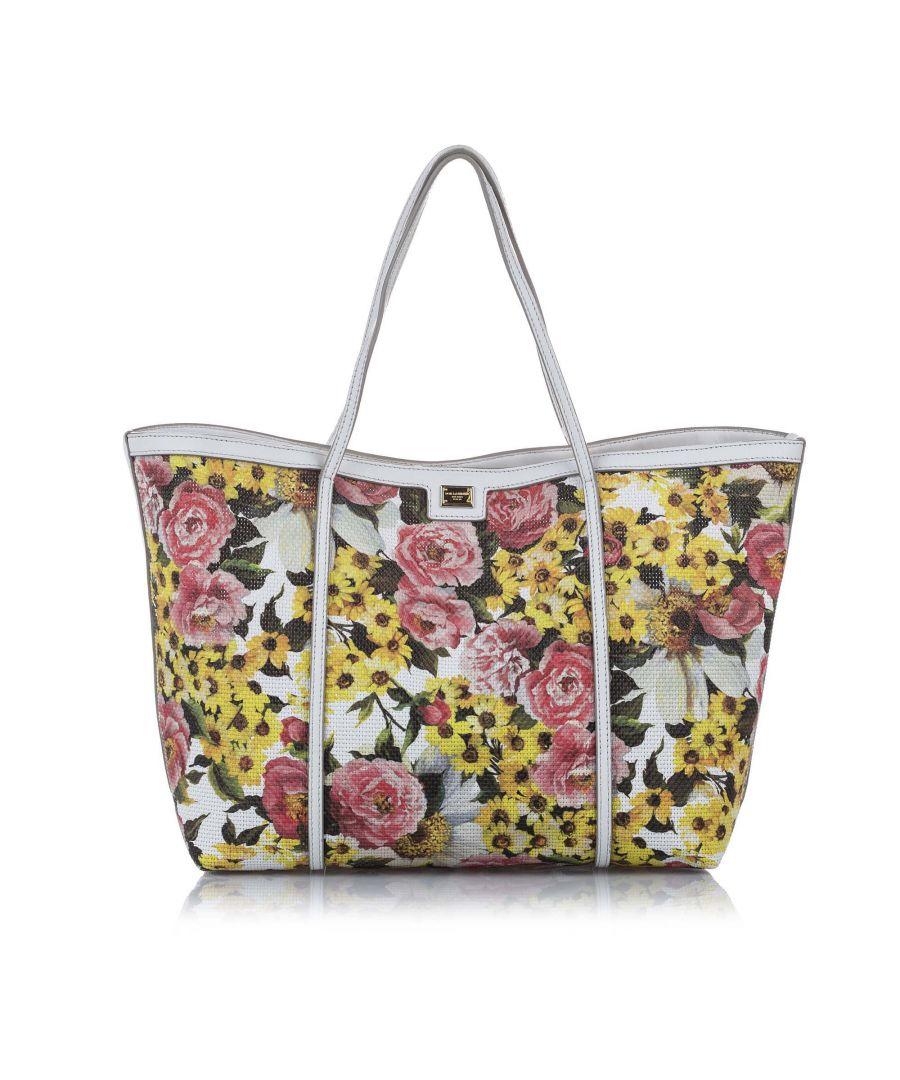 Image for Vintage Dolce&Gabbana Floral Print Canvas Tote Bag Multi