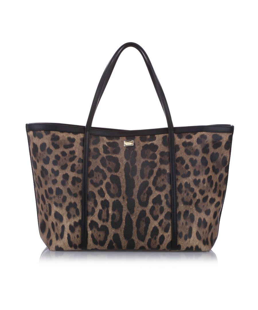 Image for Vintage Dolce&Gabbana Leopard Print Leather Tote Bag Brown