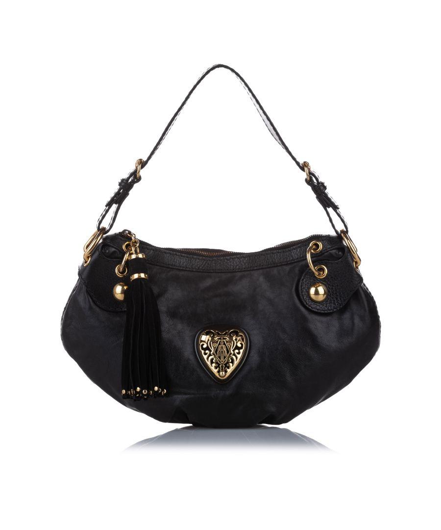 Image for Vintage Gucci Babouska Leather Hobo Bag Black