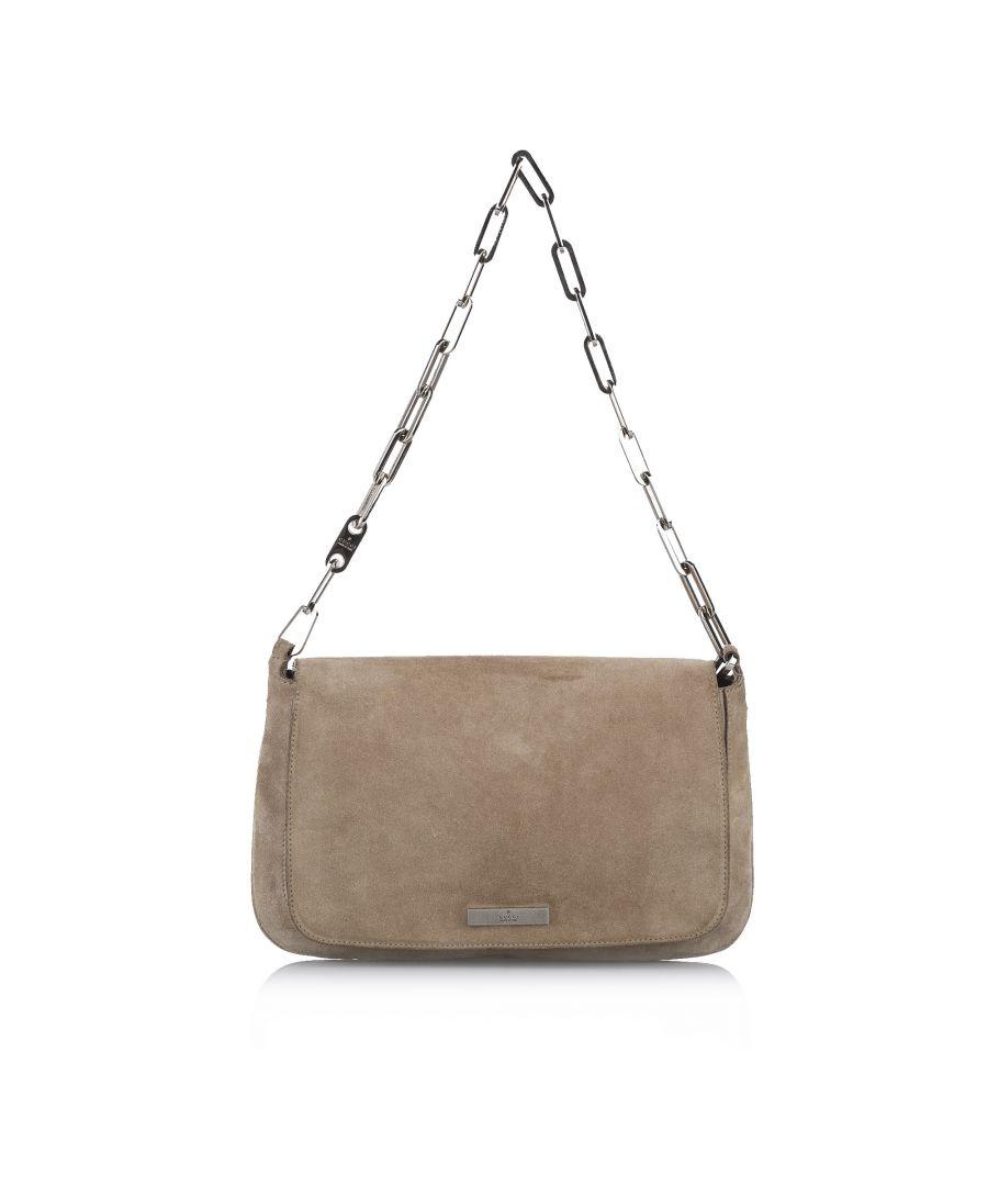 Image for Vintage Gucci Suede Shoulder Bag Brown