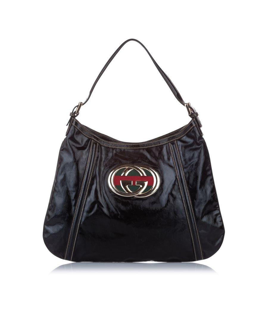 Image for Vintage Gucci Britt Leather Shoulder Bag Black