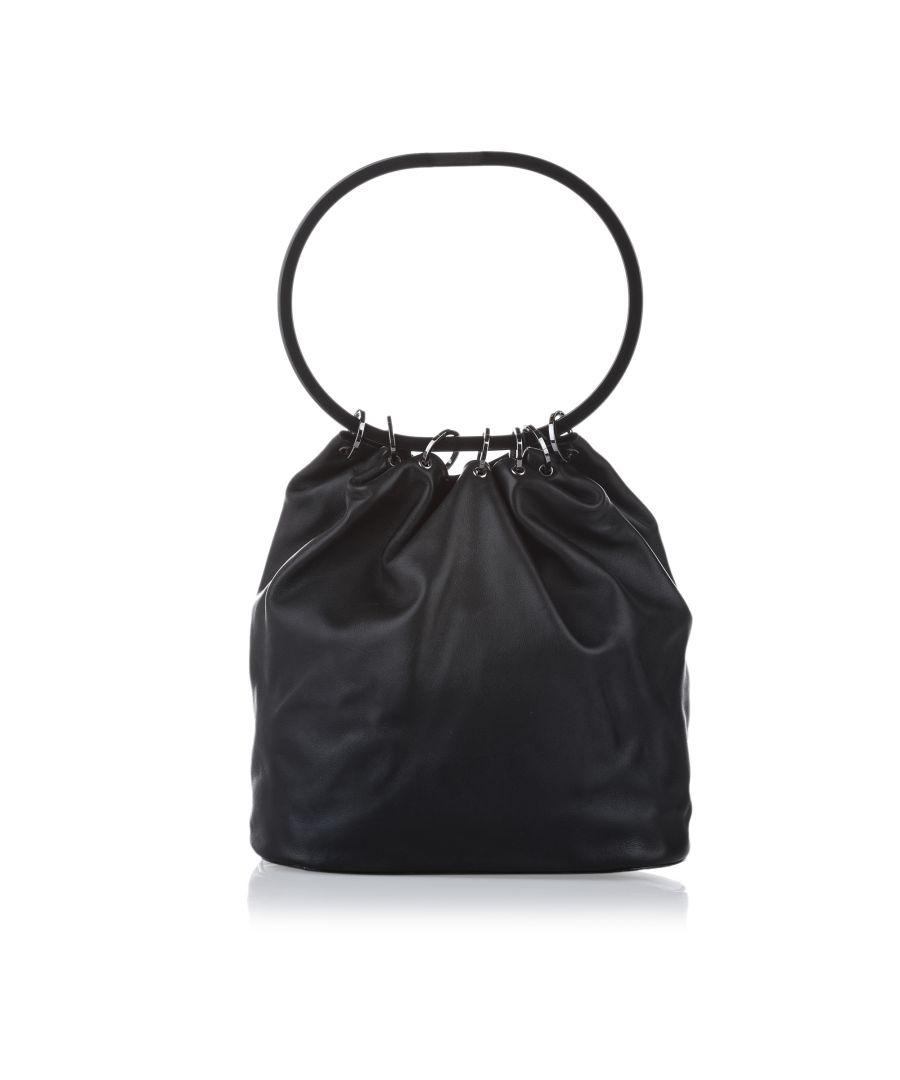 Image for Vintage Gucci Ring Handle Leather Shoulder Bag Black