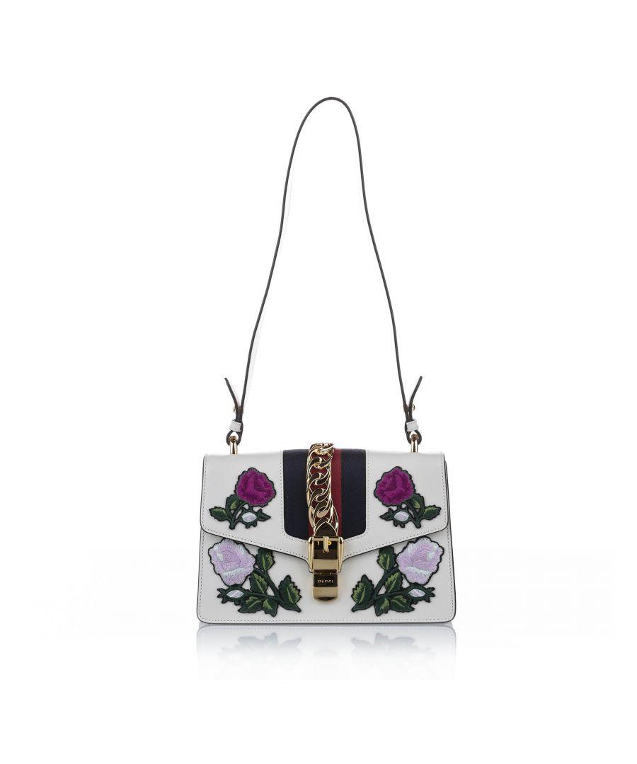 Image for Vintage Gucci Embroidered Sylvie Leather Shoulder Bag White