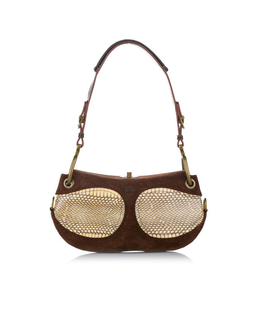 Image for Vintage Loewe Suede Shoulder Bag Brown
