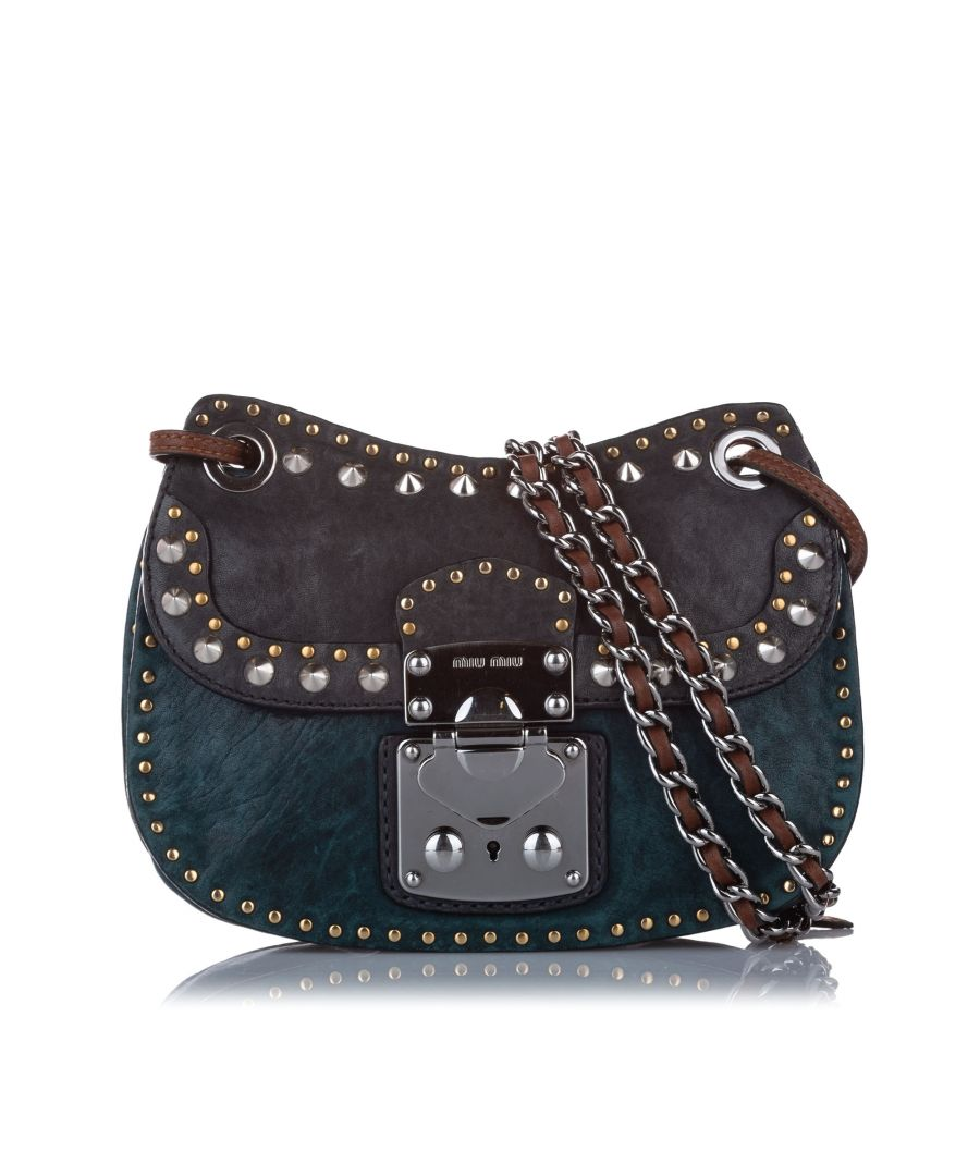 Image for Vintage Miu Miu Studded Leather Crossbody Green