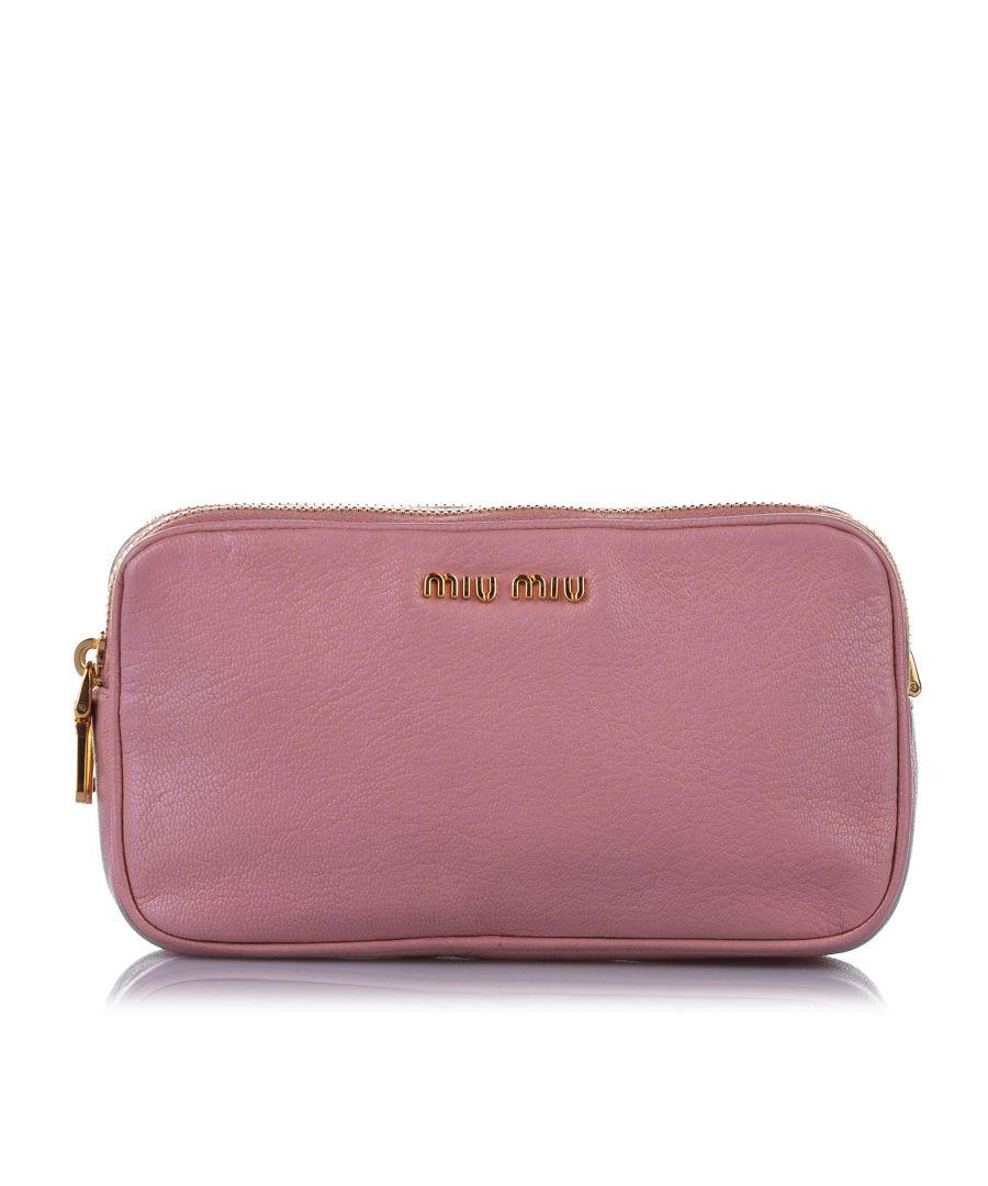 Image for Vintage Miu Miu Double Zip Leather Crossbody Bag Pink