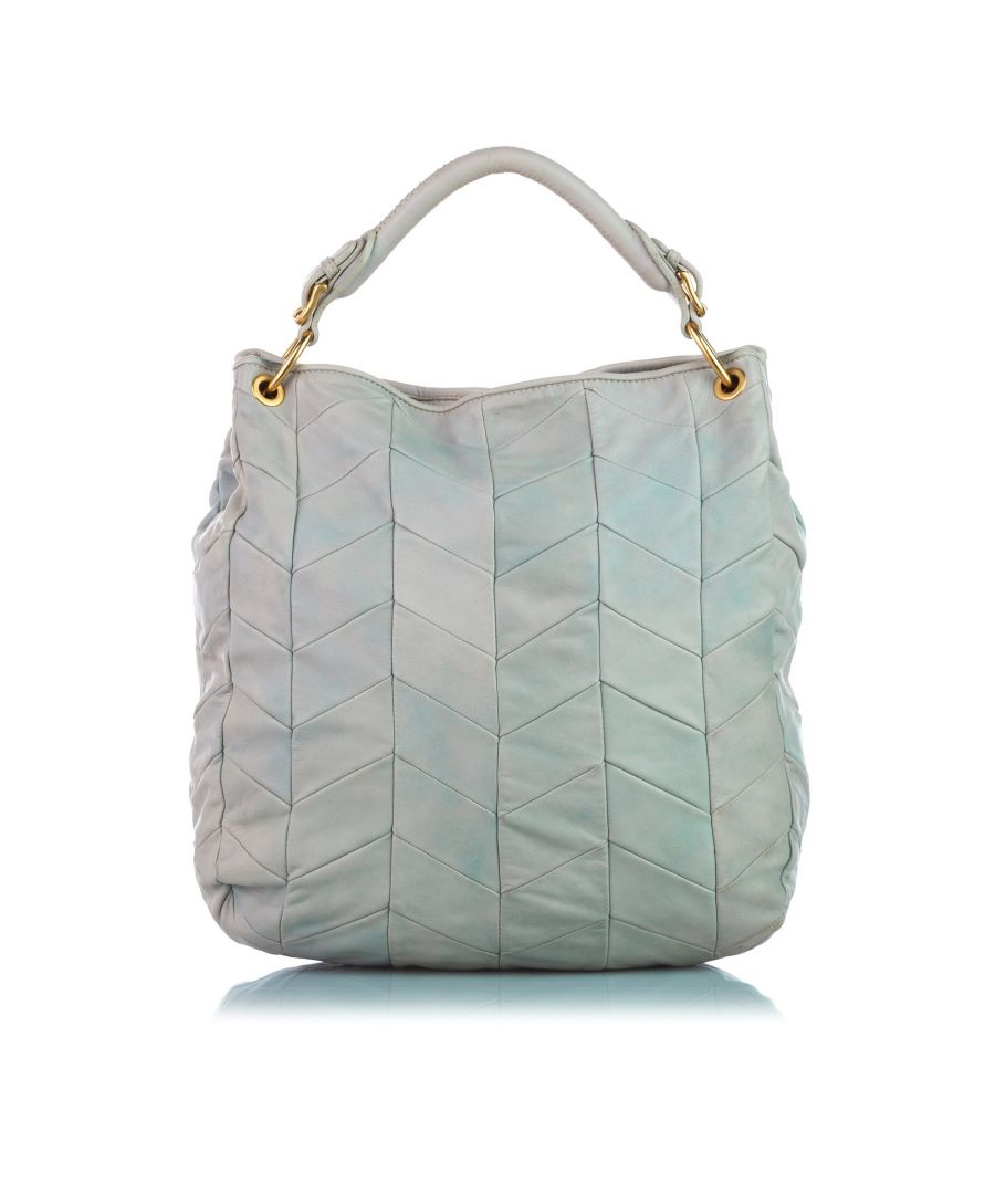 Image for Vintage Miu Miu Quilted Lambskin Leather Tote Bag White