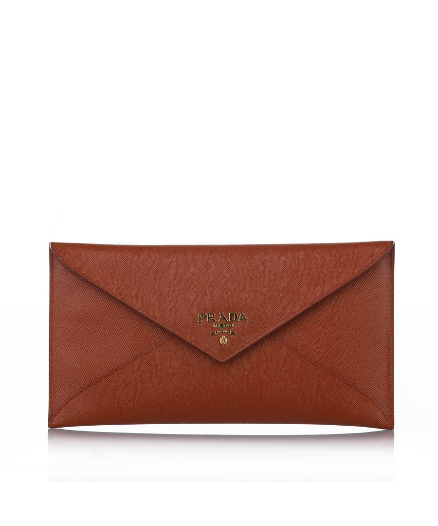 Image for Vintage Prada Saffiano Long Wallet Brown