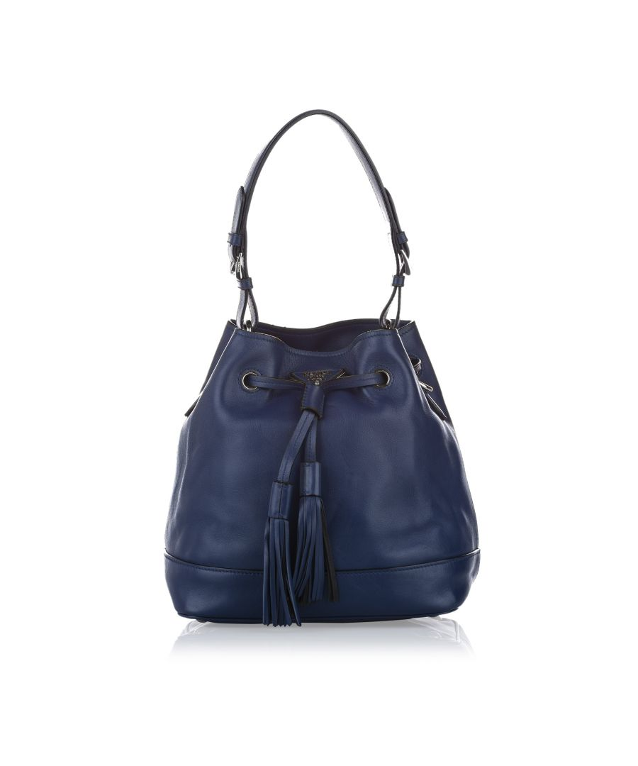 Image for Vintage Prada Leather Bucket Bag Blue