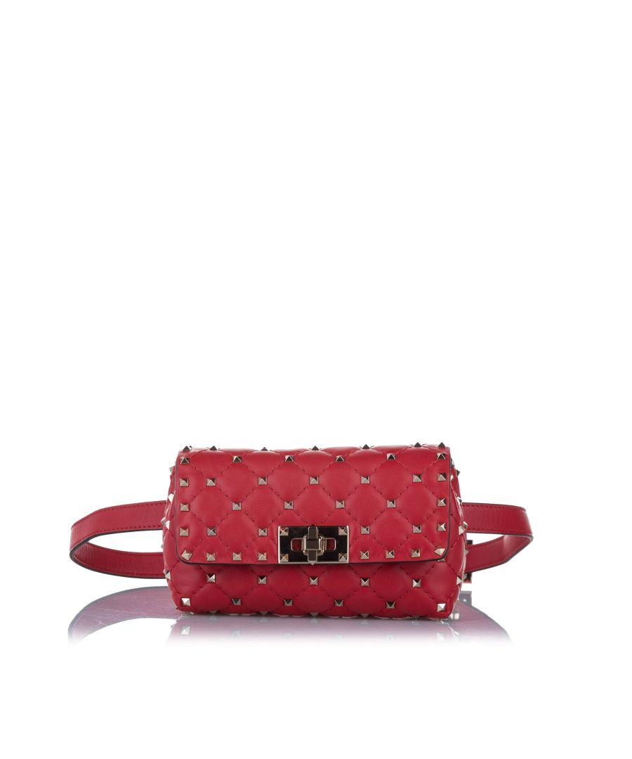 Image for Vintage Valentino Rockstud Leather Belt Bag Red