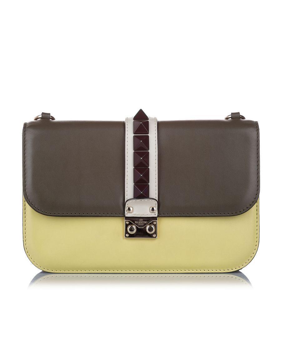 Image for Vintage Valentino Rockstud Glam Lock Leather Crossbody Bag Gray