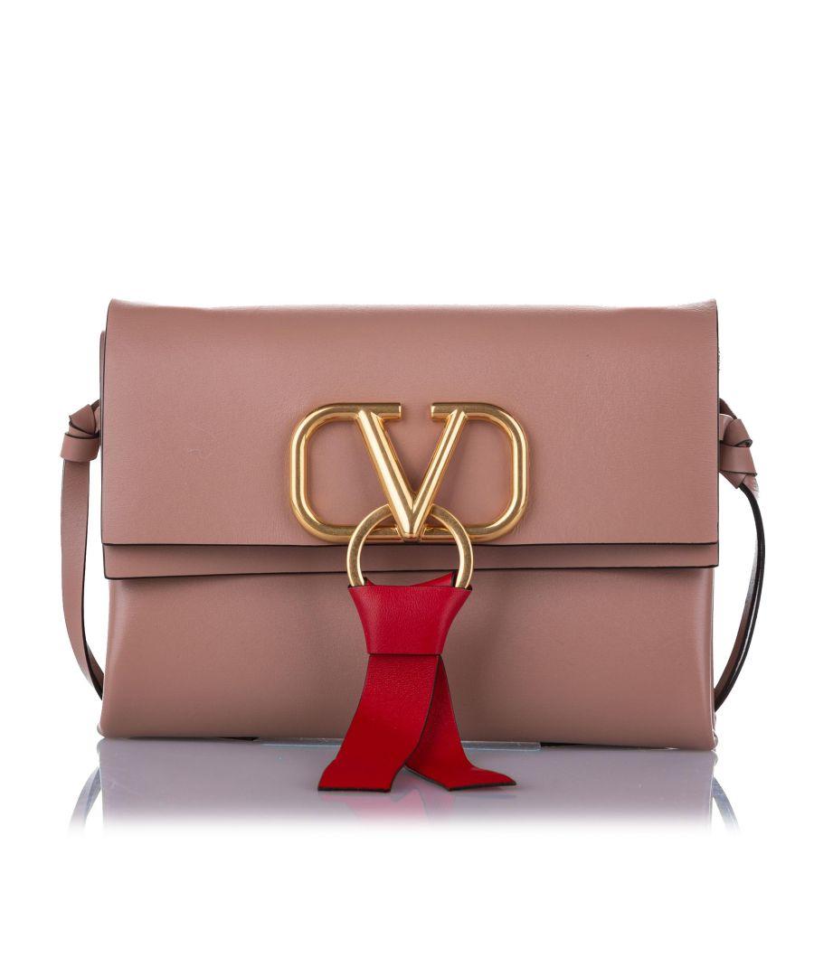 Image for Vintage Valentino VRing Leather Crossbody Bag Pink
