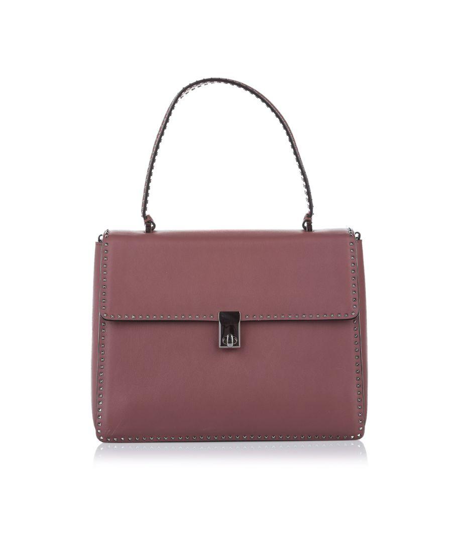 Image for Vintage Valentino Rockstud Leather Satchel Pink