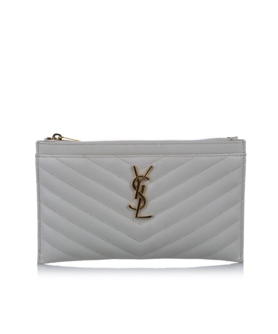 Image for Vintage YSL Monogram Bill Leather Pouch White