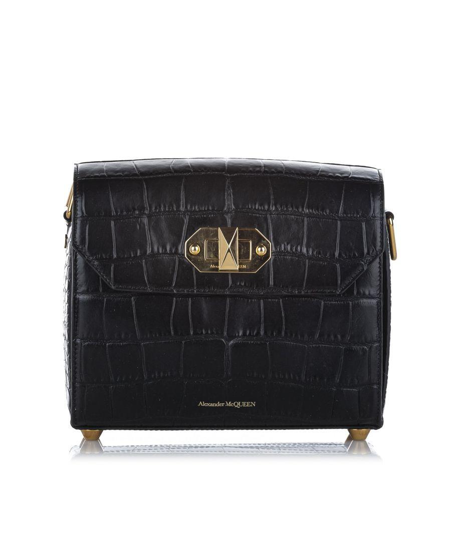 Image for Vintage Alexander McQueen Alex 21.5 Box Embossed Leather Shoulder Bag Black