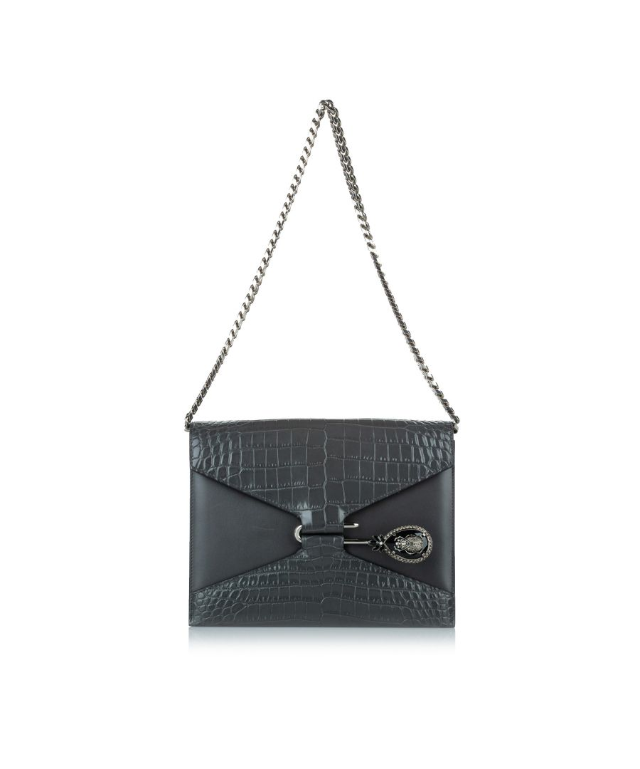 Image for Vintage Alexander McQueen Pin Envelope Leather Shoulder Bag Black