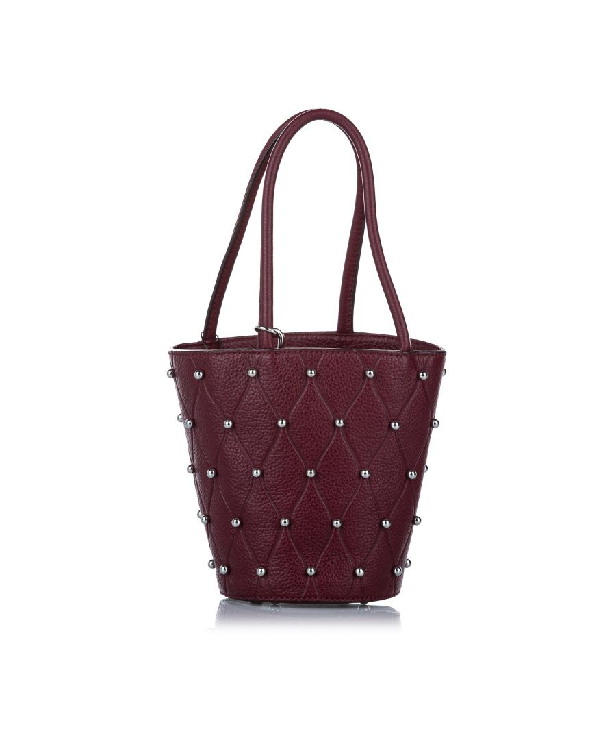 Image for Vintage Alexander Wang Roxy Studded Leather Bucket Bag Red