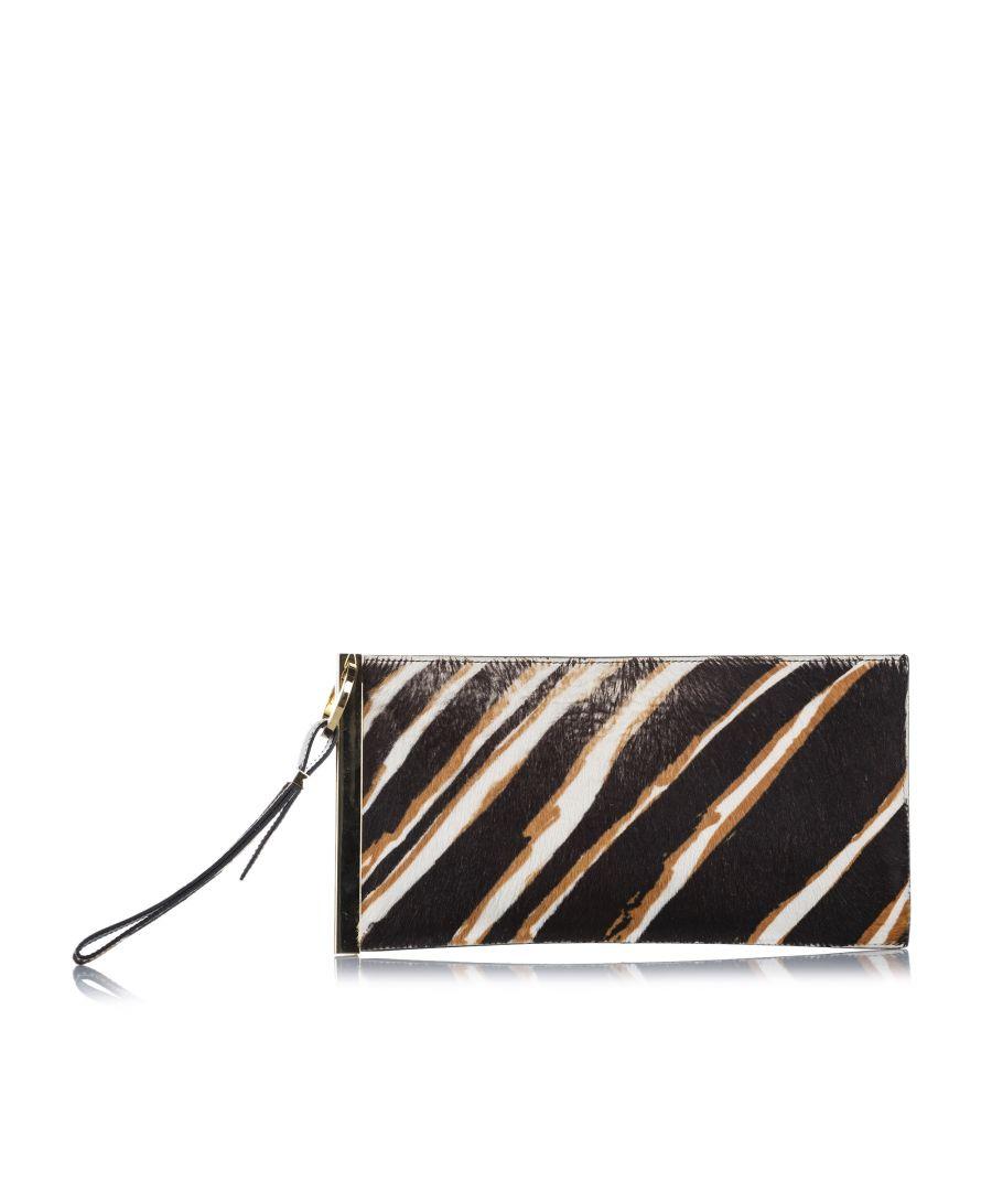 Image for Vintage Balenciaga Zebra Print Pony Hair Clutch Bag Black