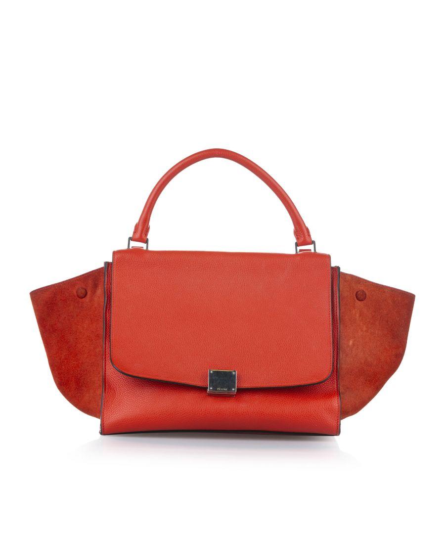 Image for Vintage Celine Trapeze Leather Satchel Red