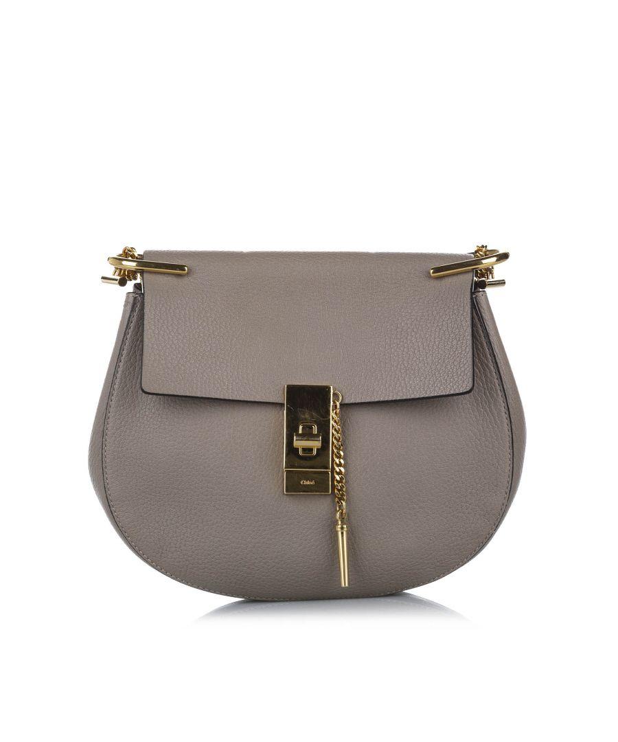 Image for Vintage Chloe Drew Leather Crossbody Bag Gray