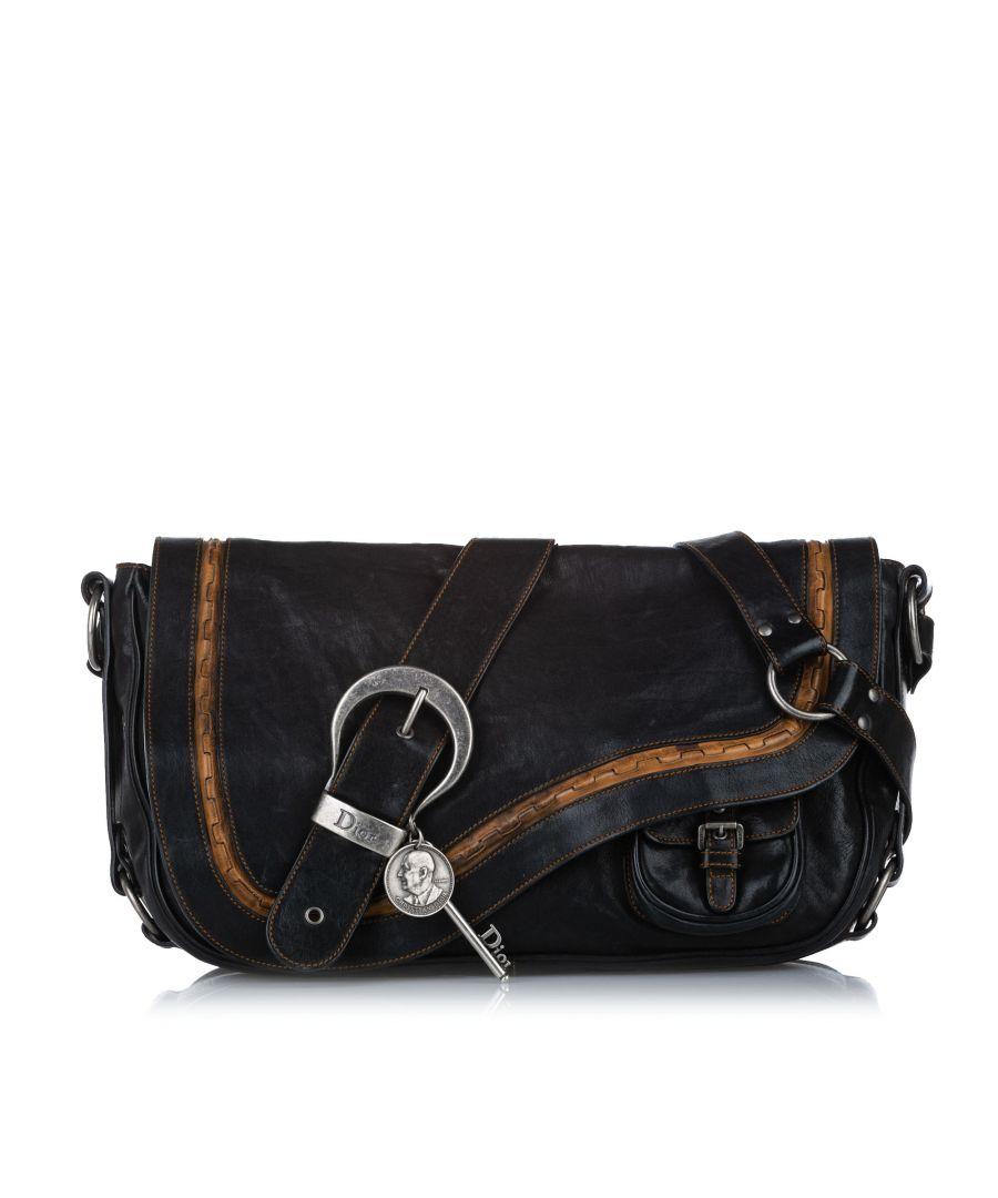 Image for Vintage Dior Leather Gaucho Saddle Black