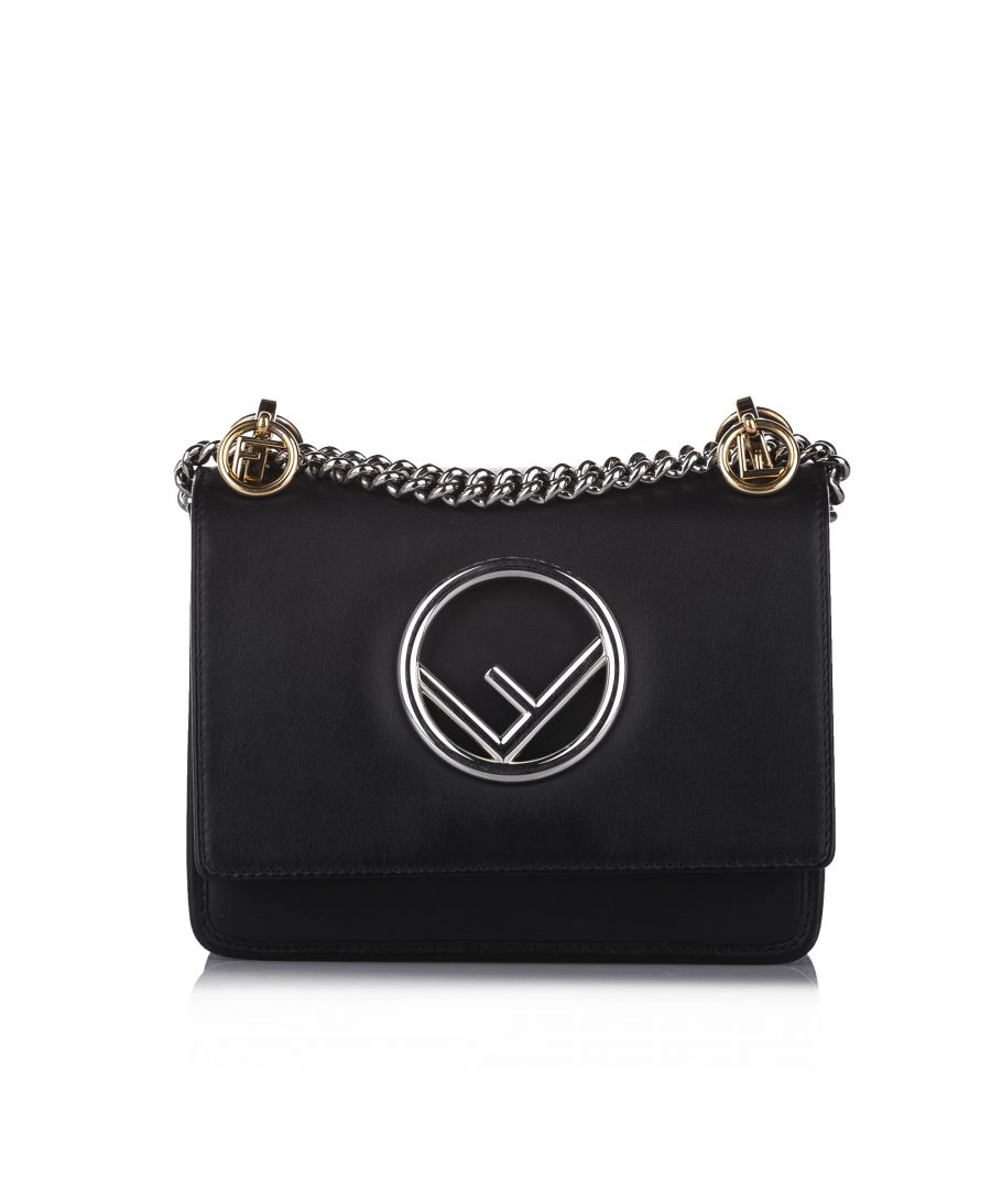 Image for Vintage Fendi Small Kan I F Leather Crossbody Bag Black