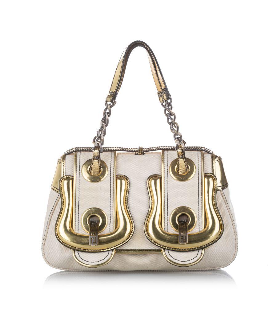 Image for Vintage Fendi B. Bag Canvas Handbag White