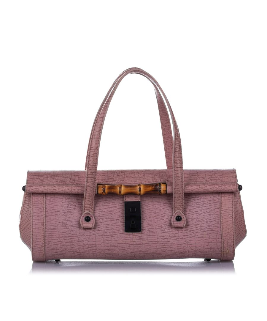 Image for Vintage Gucci Bamboo Bullet Leather Handbag Pink