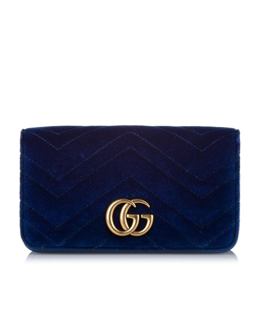 Image for Vintage Gucci Super Mini GG Marmont Velvet Crossbody Bag Blue
