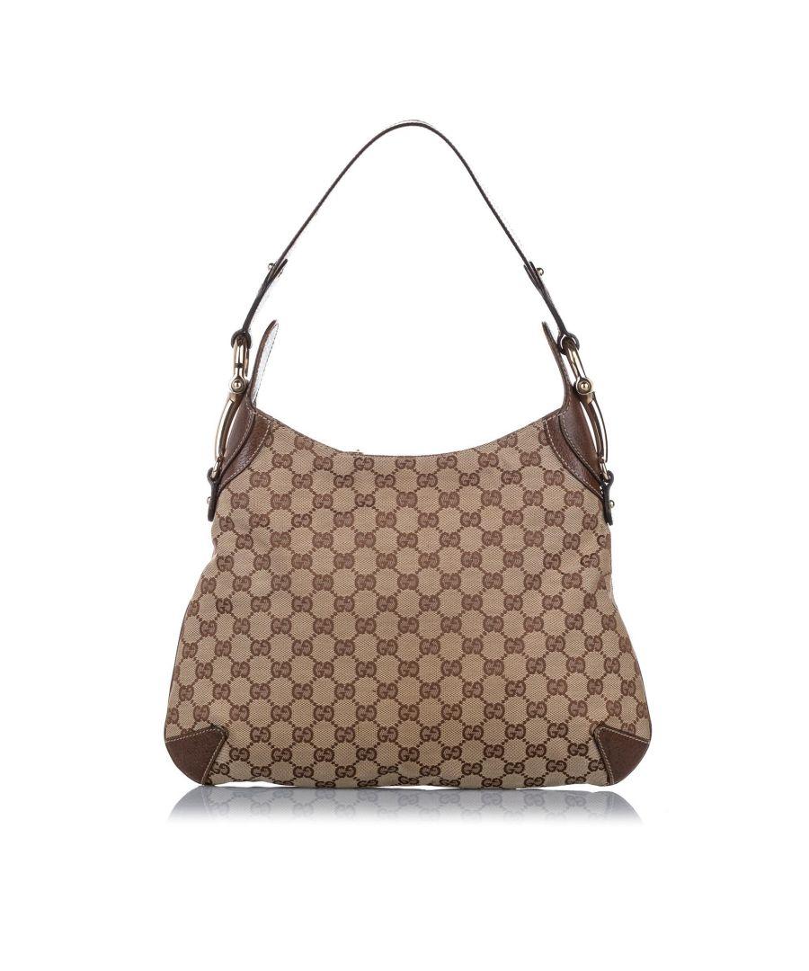 Image for Vintage Gucci GG Canvas Horsebit Creole Shoulder Bag Brown