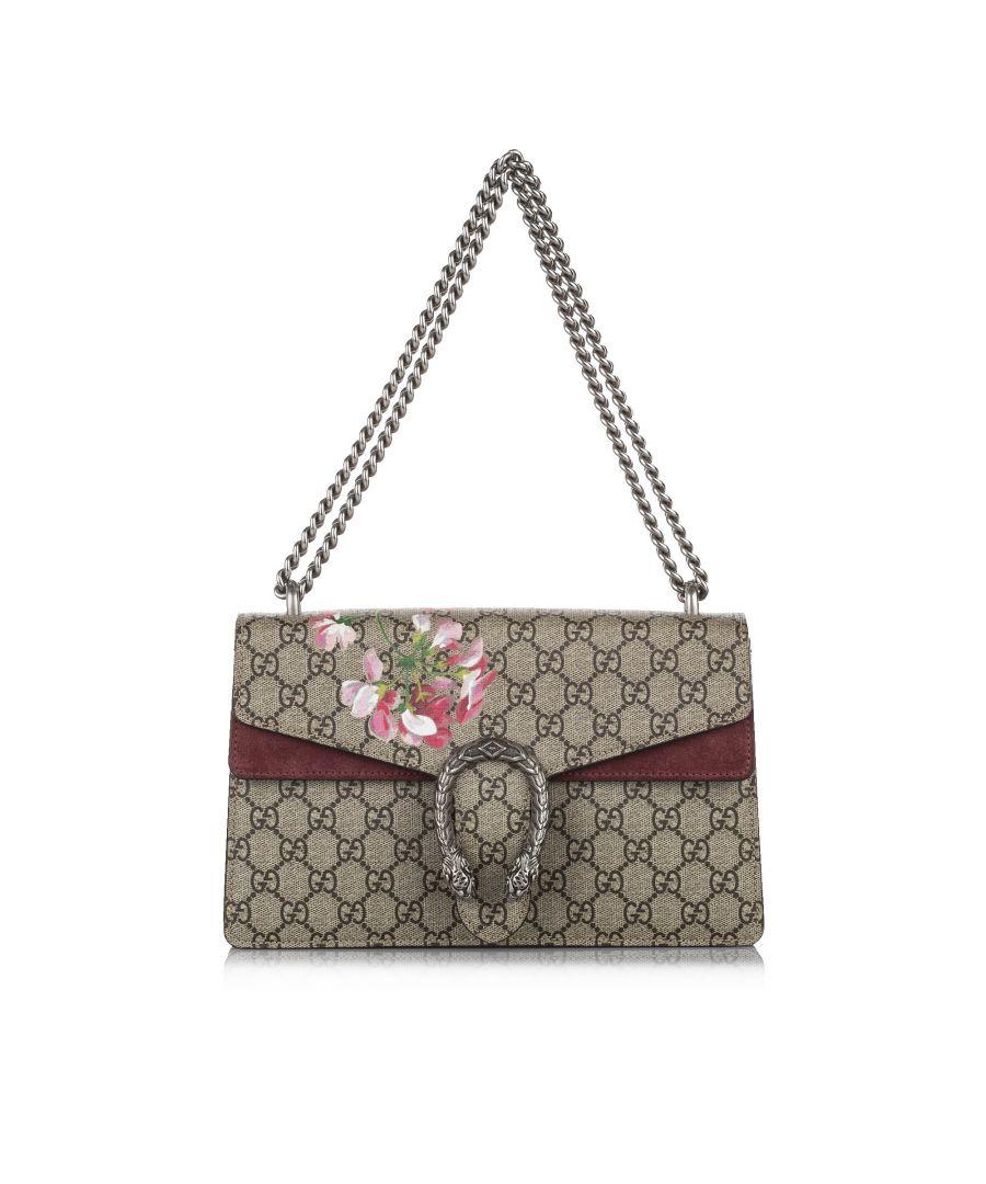 Image for Vintage Gucci Small GG Supreme Blooms Dionysus Shoulder Bag Brown