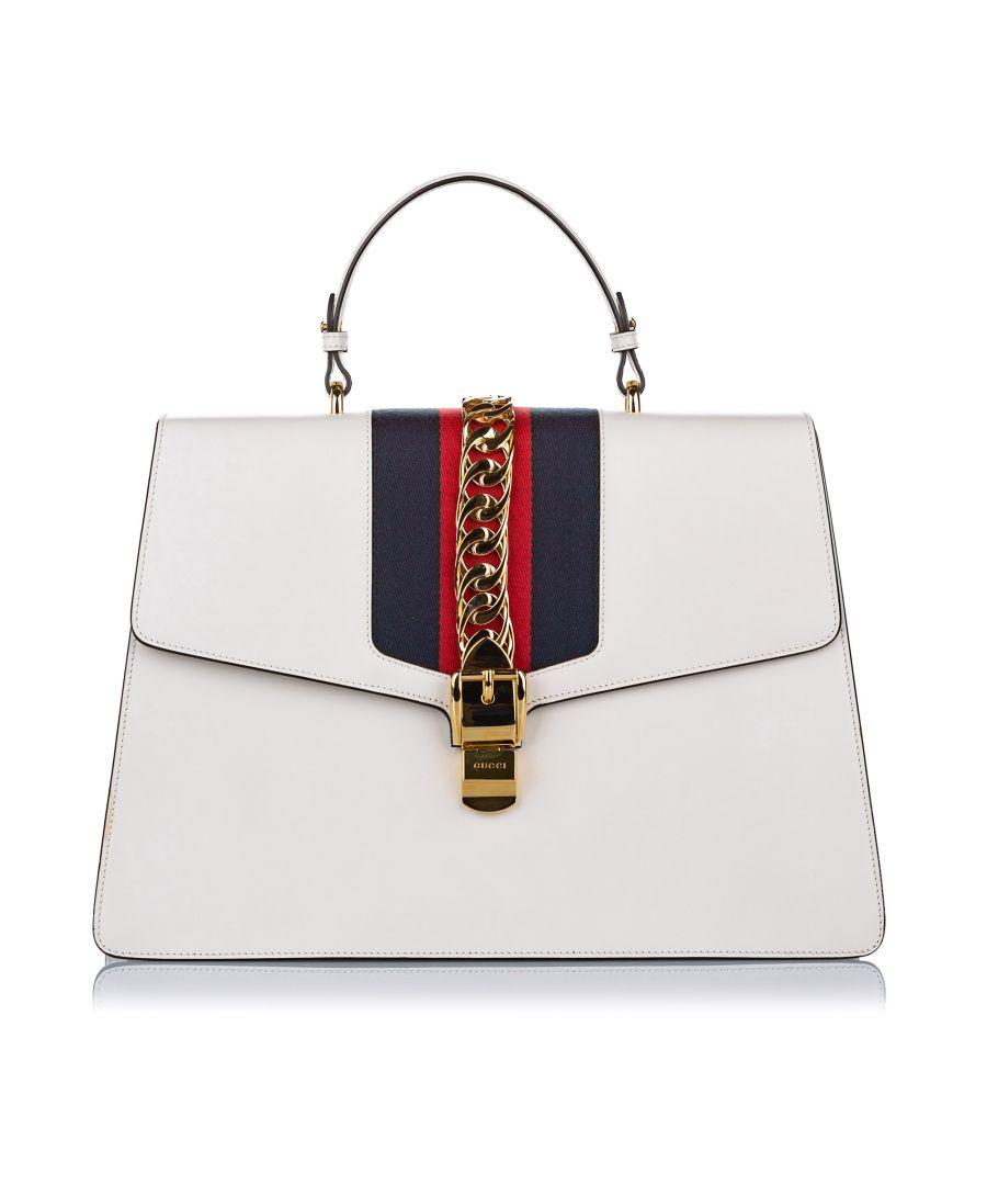 Image for Vintage Gucci Maxi Sylvie Leather Satchel White