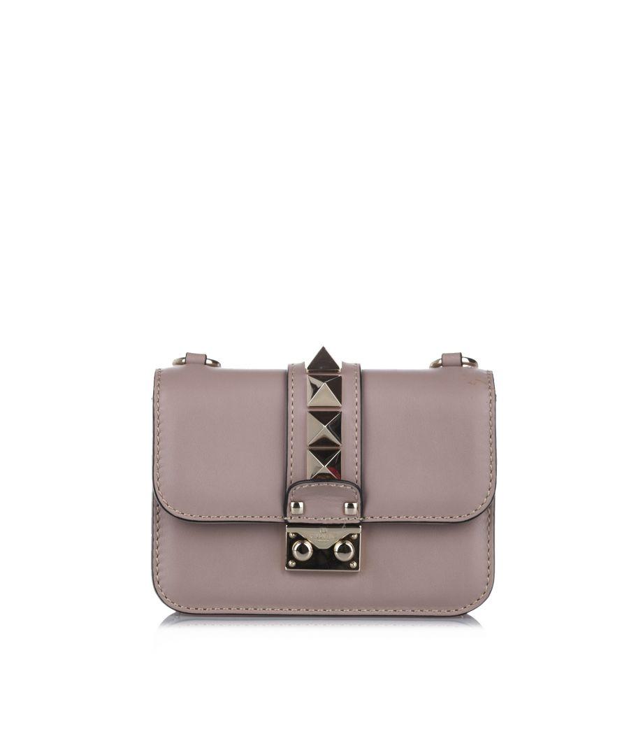 Image for Vintage Valentino Rockstud Glam Lock Leather Crossbody Bag Pink