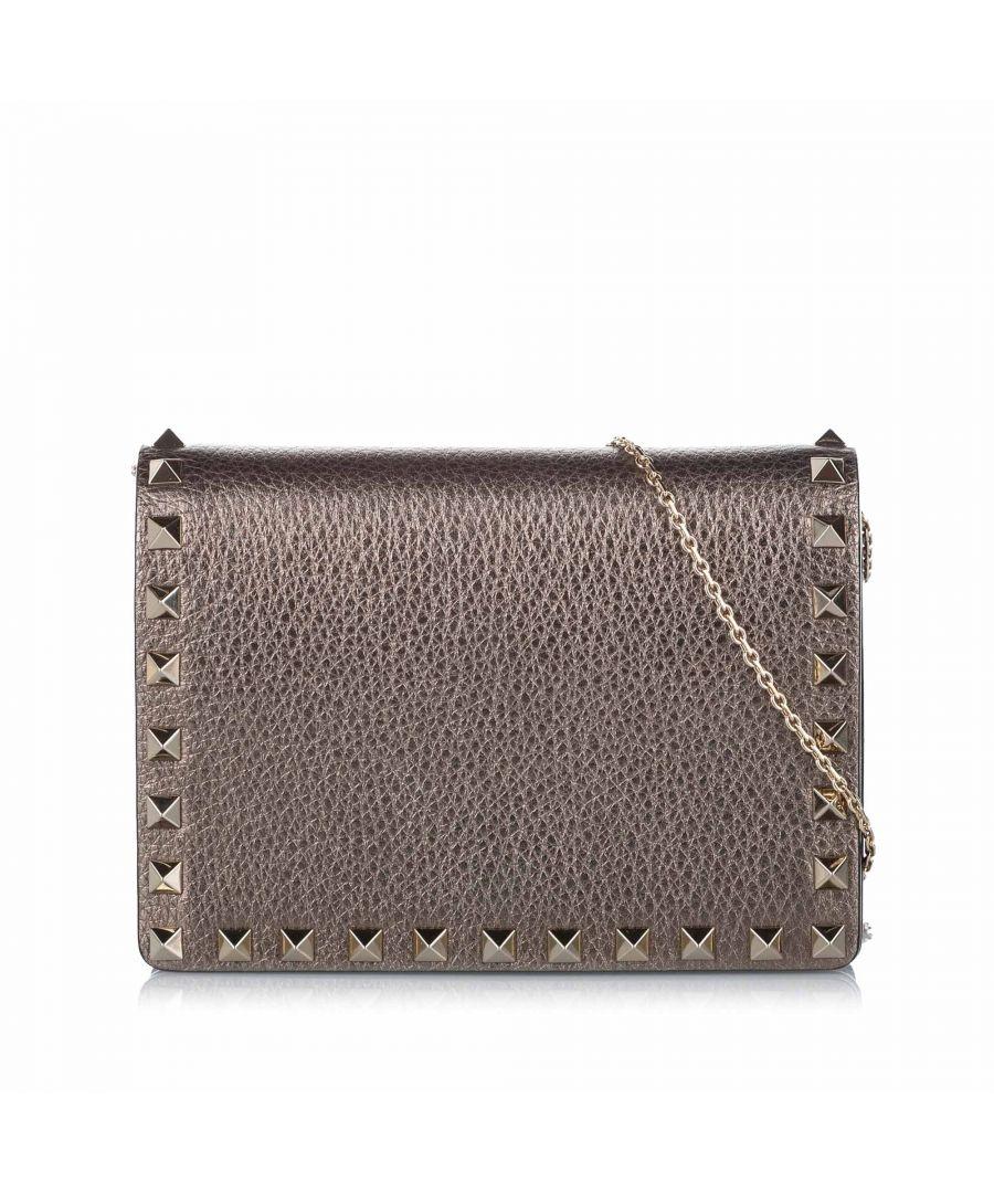 Image for Vintage Valentino Rockstud Leather Crossbody Bag Brown