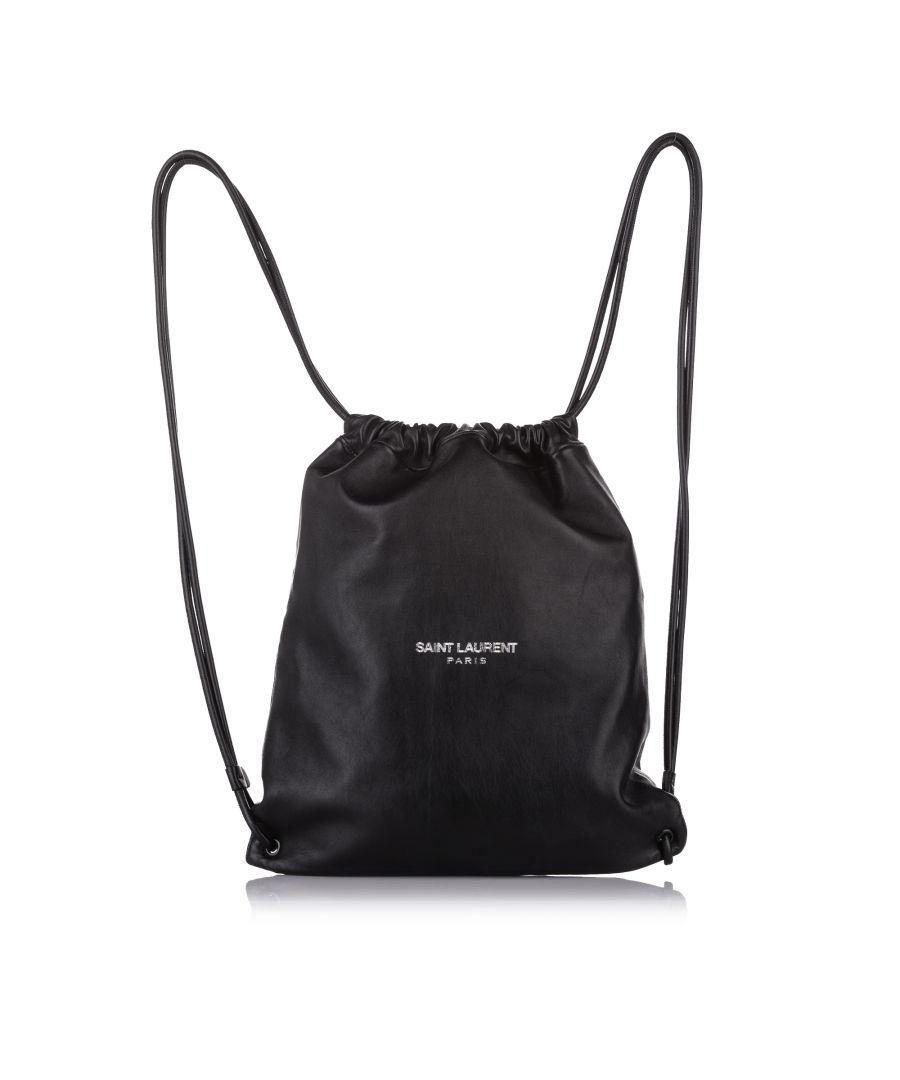 Image for Vintage YSL Teddy Drawstring Leather Backpack Black