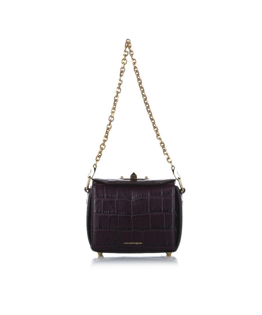 Image for Vintage Alexander McQueen Box 16 Embossed Leather Crossbody Bag Purple