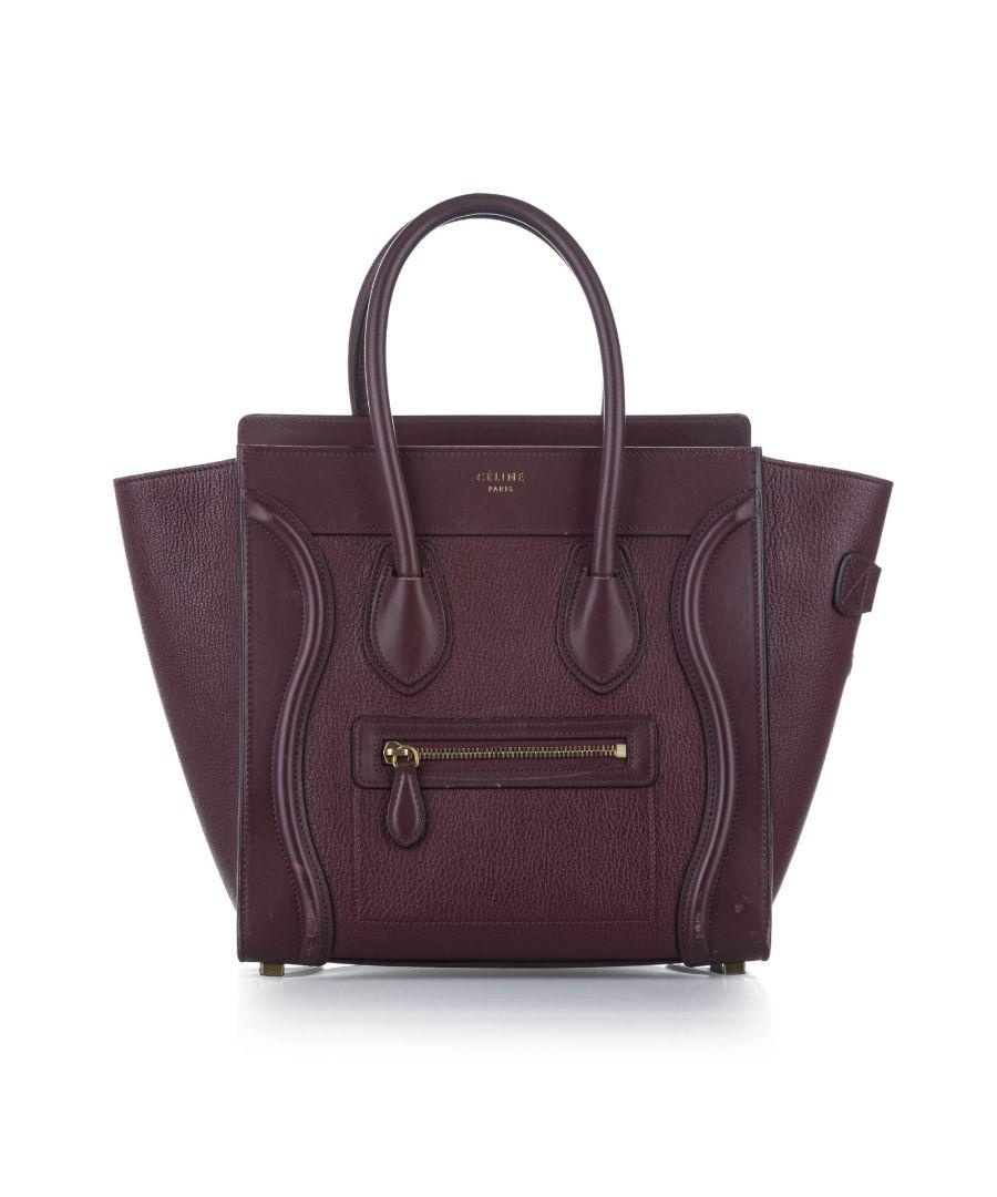 Image for Vintage Celine Luggage Leather Tote Bag Purple