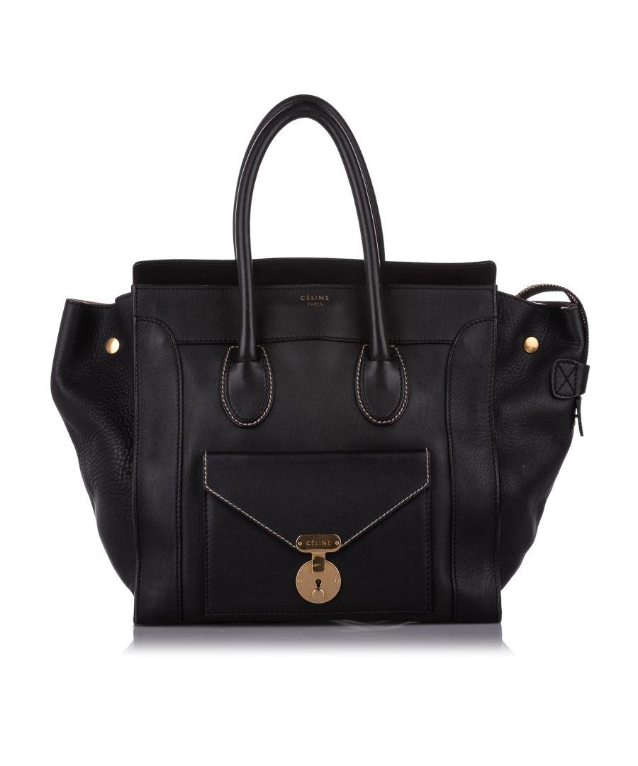 Image for Vintage Celine Envelope Luggage Leather Tote Bag Black