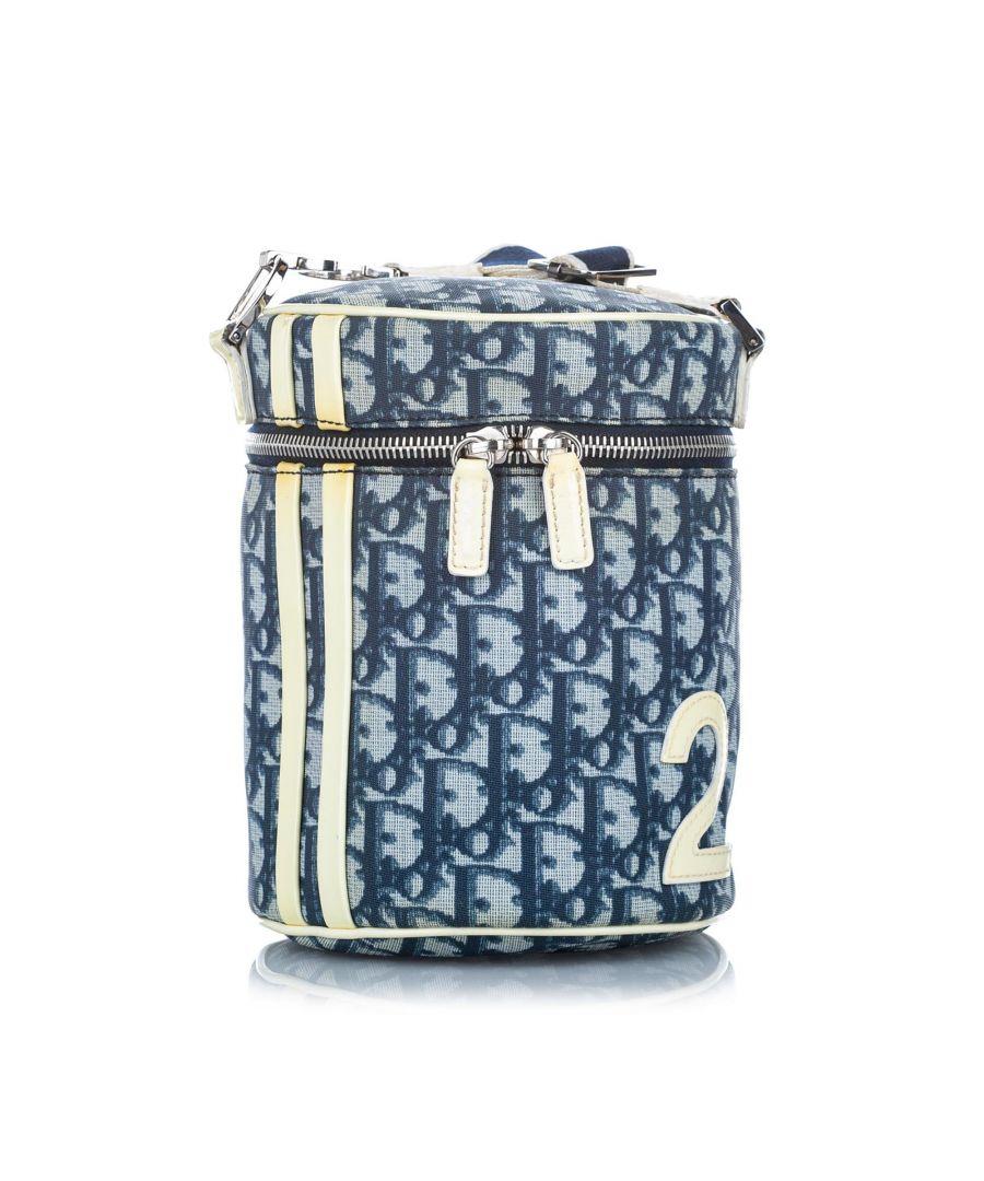 Image for Vintage Dior Dior Oblique Trotter Canvas Bucket Bag Blue