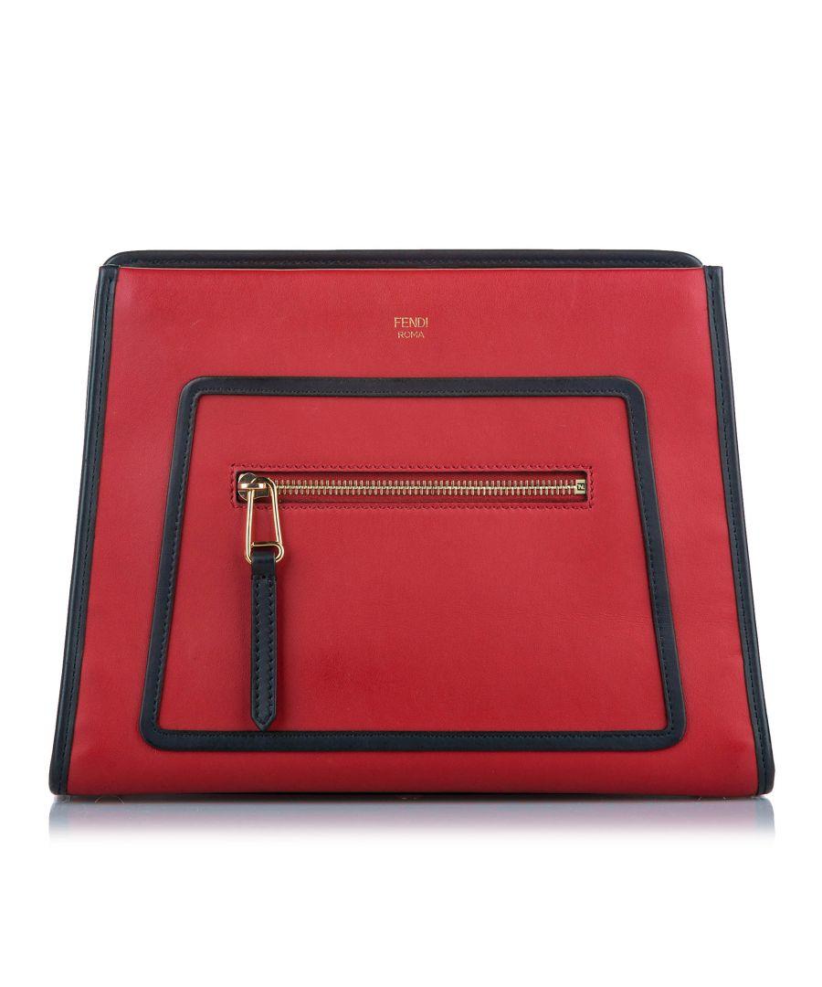 Image for Vintage Fendi Runaway Leather Satchel Red