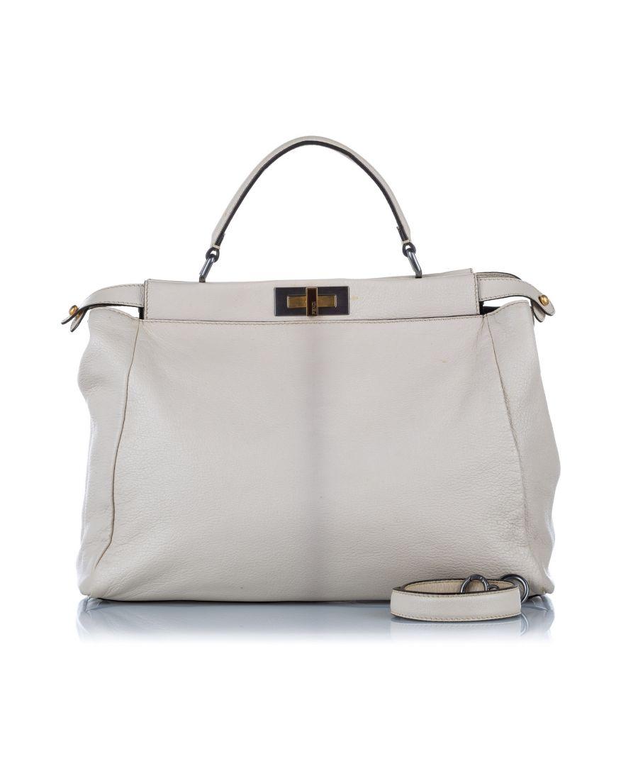 Image for Vintage Fendi Peekaboo Leather Satchel White
