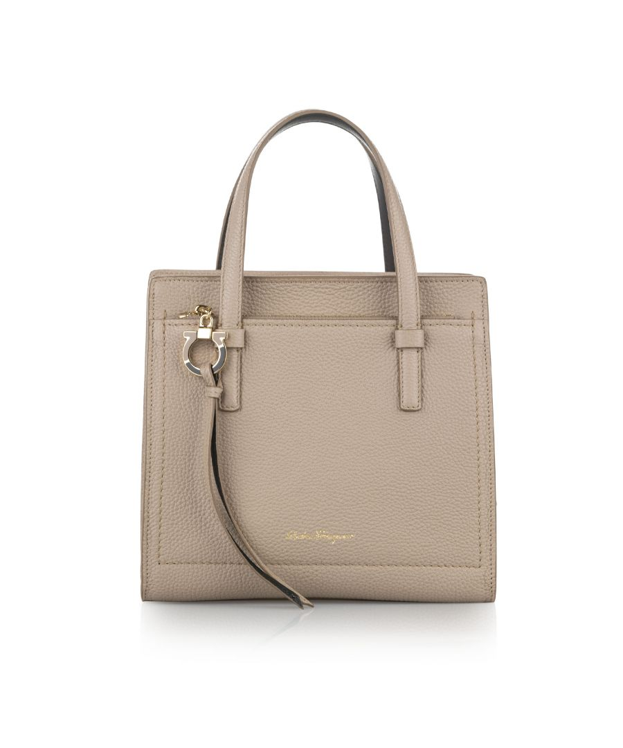 Image for Vintage Ferragamo Small Gancini Amy Leather Satchel Brown