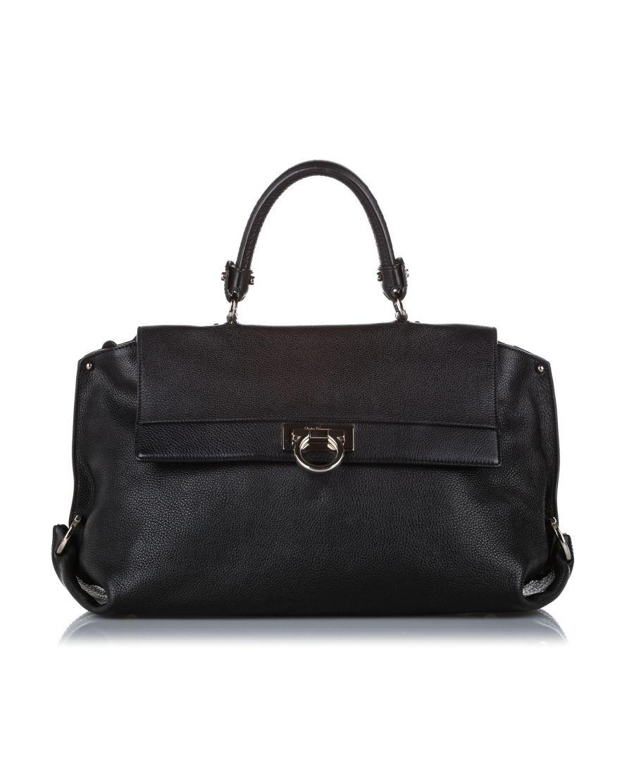 Image for Vintage Ferragamo Sofia Leather Satchel Black