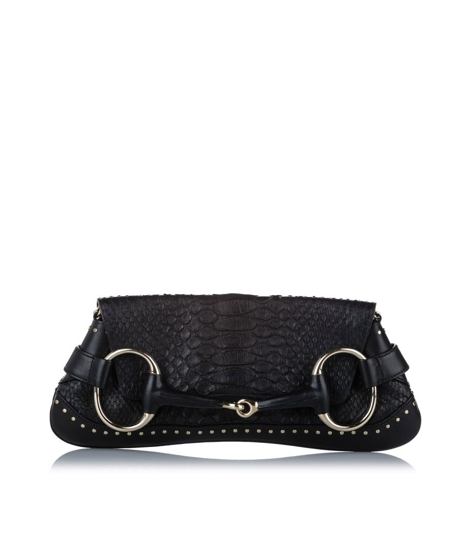 Image for Vintage Gucci Horsebit Python Leather Chain Baguette Black