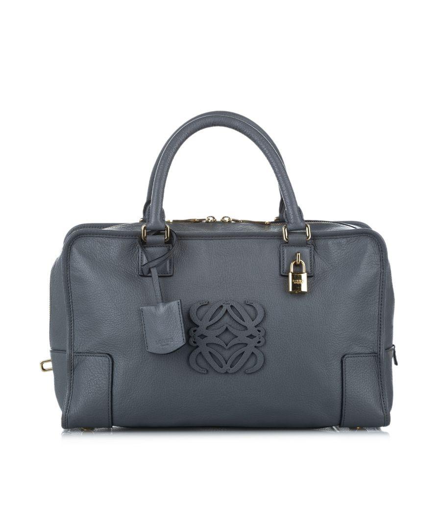 Image for Vintage Loewe Amazona Leather Handbag Gray